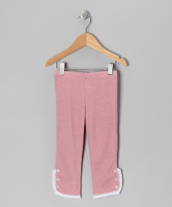 Dusty Rose Lace Leggings - Toddler & Girls