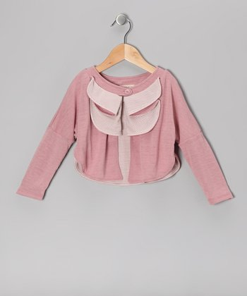 Dusty Rose Tiered Cardigan - Girls