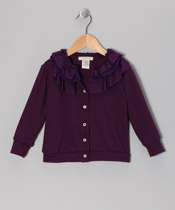Plum Frill Icing Cardigan - Toddler & Girls