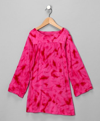 Pink Tie-Dye Babydoll Dress - Girls