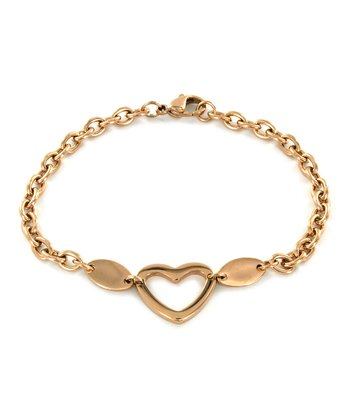 Rose Gold Stainless Steel Heart Bracelet