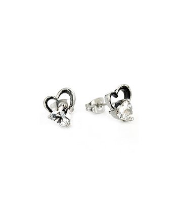 Silver Stainless Steel Heart Studs