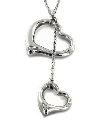 Silver Stainless Steel Double Heart Pendant Necklace