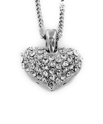 Silver Rhinestone Heart Pendant Necklace