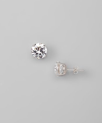 White Gold & Cubic Zirconia 9-mm Round Stud Earrings