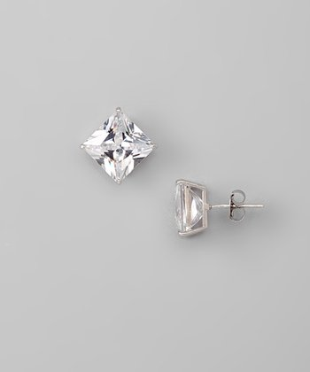 White Gold & Cubic Zirconia 10-mm Square Stud Earrings