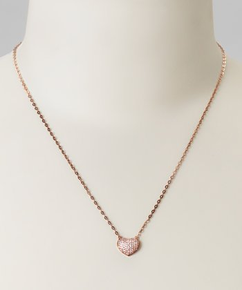 Rose Gold & Cubic Zirconia Heart Necklace