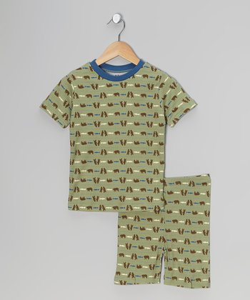 Blue & Green Bear Organic Short Pajama Set - Kids