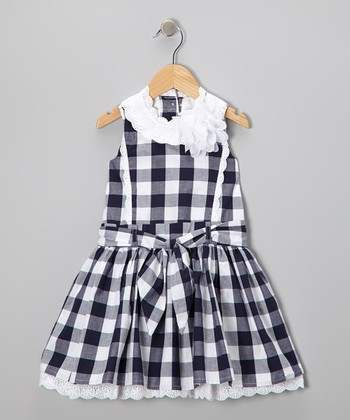 Blue & White Plaid A-Line Dress - Toddler & Girls