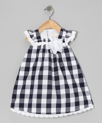 Navy Plaid Angel-Sleeve Dress - Infant