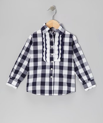 Navy Plaid Eyelet Top - Toddler & Girls