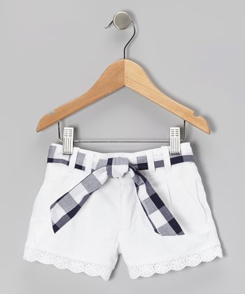 White Denim Shorts & Blue Plaid Sash - Girls