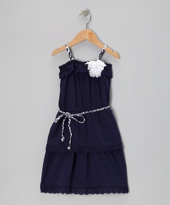 Navy Lace Senorita Dress - Toddler & Girls