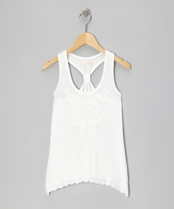 White Flare Racerback Tank - Toddler & Girls