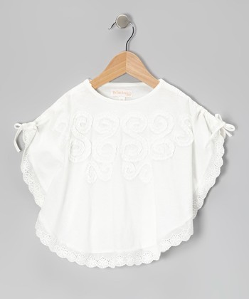 White Ruffle Tie Poncho - Toddler & Girls
