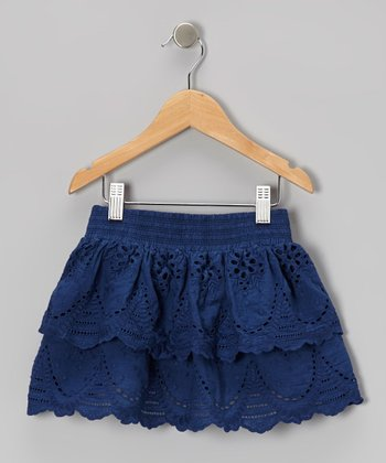 Navy Eyelet Skirt - Toddler & Girls