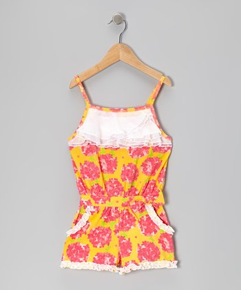 Yellow Floral Romper - Toddler & Girls