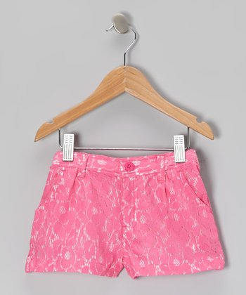 Pink Lace Shorts - Toddler & Girls