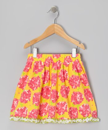Yellow Floral Skirt - Toddler & Girls