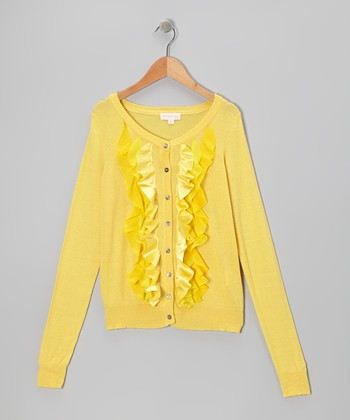 Yellow Ruffle Cardigan - Toddler & Girls
