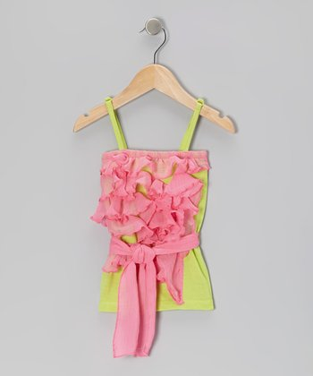 Pink & Green Ruffle Tank - Toddler & Girls