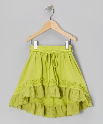 Green Eyelet Hi-Low Skirt - Toddler & Girls