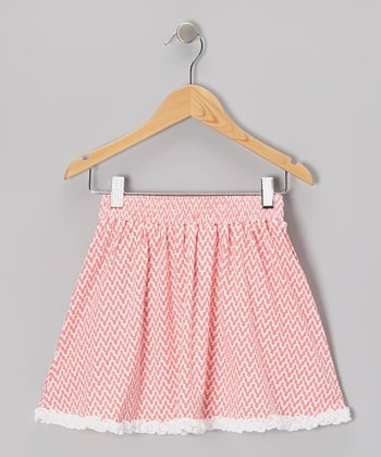 Coral Zigzag Skirt - Toddler & Girls