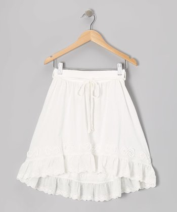 White Eyelet Hi-Low Skirt - Toddler