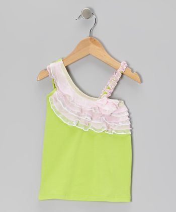 Green Ruffle Asymmetrical Top - Toddler & Girls