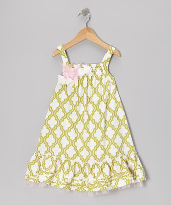 Green Quatrefoil Mu Mu Babydoll Dress - Infant & Toddler