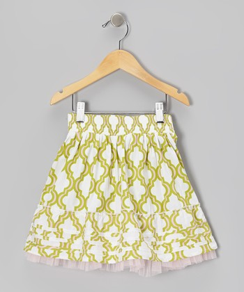 Green Quatrefoil Ruffle Skirt - Toddler & Girls