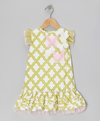 Green Quatrefoil Drop-Waist Dress - Infant