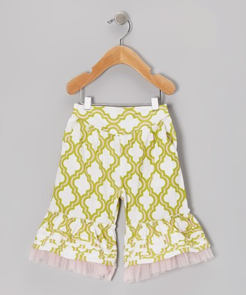 Green Quatrefoil Ruffle Capri Pants - Infant, Toddler & Girls