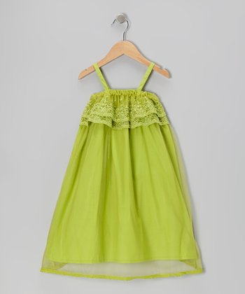 Green Lace Babydoll Dress - Toddler & Girls