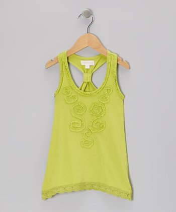 Green Flare Racerback Tank - Toddler & Girls