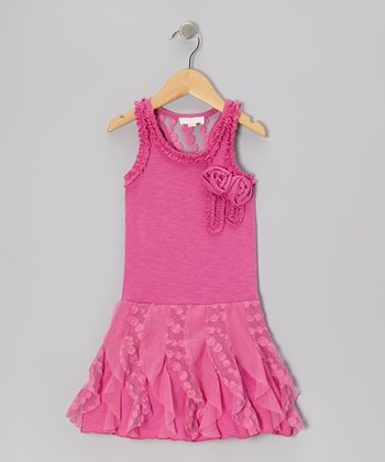 Pink Ruffle Rosette Racerback Dress - Toddler & Girls