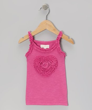 Pink Ruffle Heart Tank - Girls
