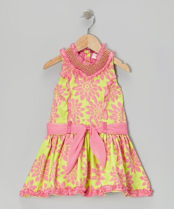 Lime Flower Princess Dress - Girls