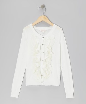 White Ruffle Cardigan - Toddler & Girls