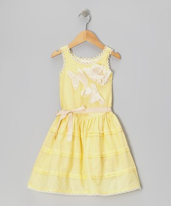 Yellow Ruffle Pin Tuck Dress - Toddler