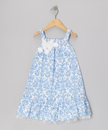 Blue Damask Babydoll Dress - Infant