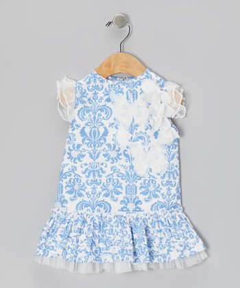 Blue Damask Ruffle Drop-Waist Dress - Infant