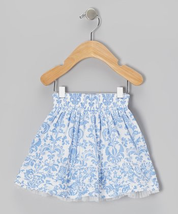 Blue & White Damask Full Skirt - Infant, Toddler & Girls