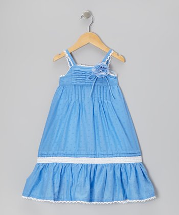 Blue Pin Tuck Babydoll Dress - Girls