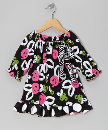 Black Brush Rose Peasant Tunic - Toddler & Girls