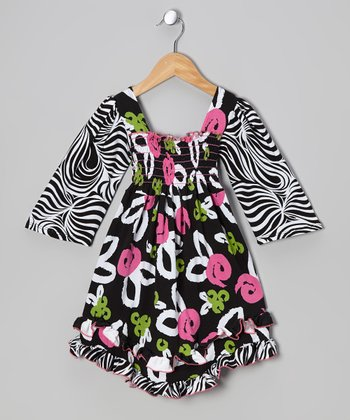 Black Brush Rose Shirred Dress - Infant, Toddler & Girls