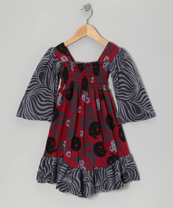 Crimson Brush Rose Shirred Dress - Infant