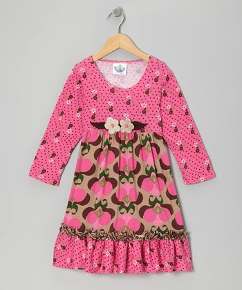 Pink Mod Bouquet Babydoll Dress - Infant & Girls