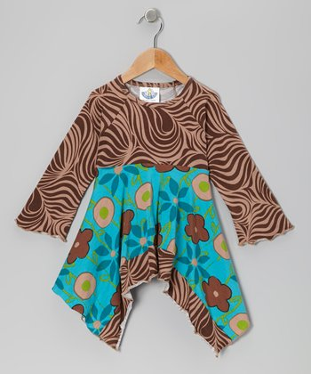 Turquoise Garden Mix Handkerchief Top - Toddler