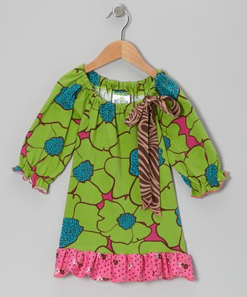 Green Flower Burst Peasant Tunic - Toddler & Girls